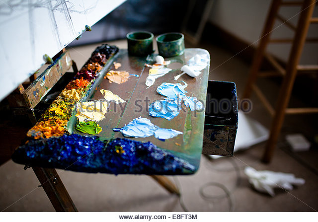 USA, Maine, Elevated view of painter's workplace - Stock-Bilder