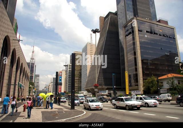 Avenida Paulista in Sao Paulo Brazil - Stock Image