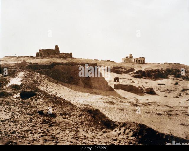 Ruins of the Ancient Arab Enclosure, salted paper print 1851-1852  Aswan Egypt Felx Teynard 1817-1892  French - Stock Image