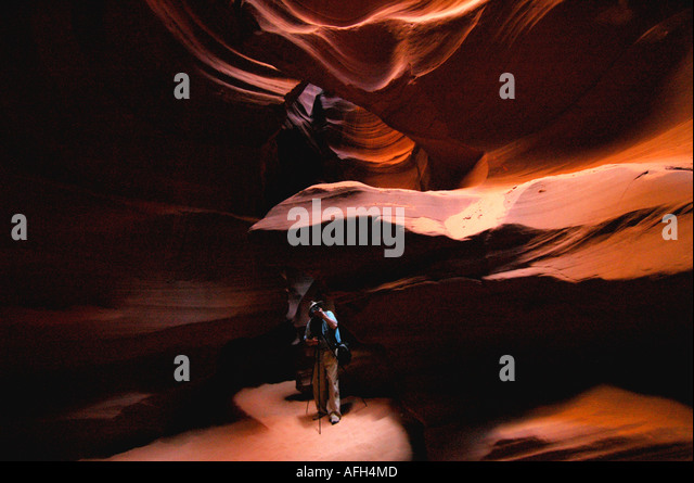 Arizona Page Antelope Canyon photographer taking pictures - Stock Image