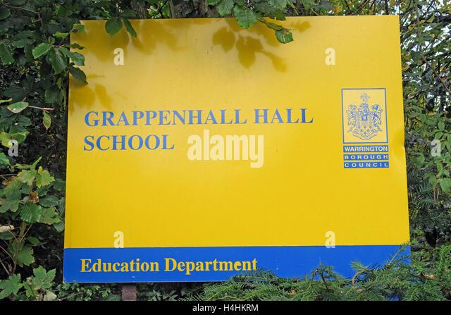 Grappenhall Hall School sign, Warrington, Cheshire, England, UK - Stock Image