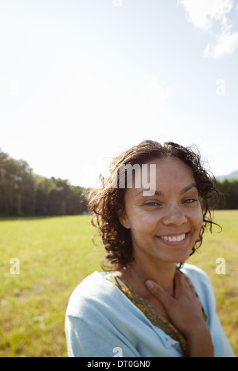Woodstock New York USA young woman in the sunshine - Stock Image