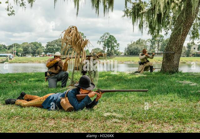 Civil War reenactment of the 'Battle of Tampa', in 1862. - Stock Image