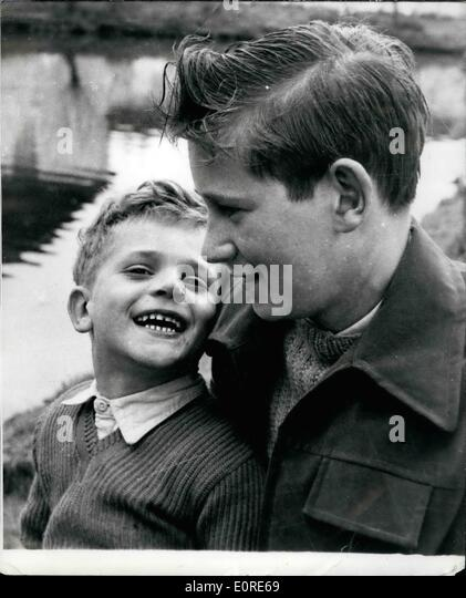 Apr. 04, 1959 - FOURTEEN YEAR OLD COCKNEY BOY RECEIVES GEORGE MEDAL: SAVED HIS NEPHEW WHEN AIRLINER CRASHED ON HIS - Stock Image