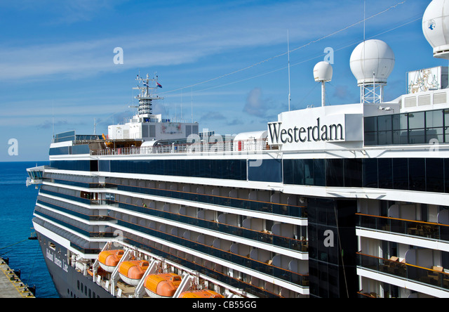Holland America Westerdam Caribbnean cruise ship at St. Maarten cruise pier above - Stock Image