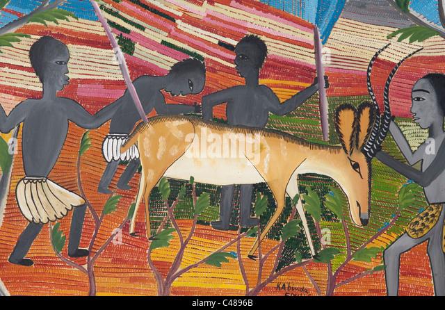 Hunting scene by  Kabinda 1957, artist from Belgian Congo - Stock-Bilder