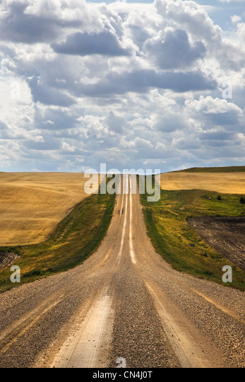 Rural road going over hill - Stock Image