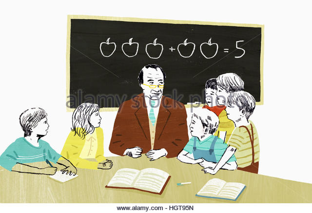 Teacher teaching mathematics to group of school children - Stock-Bilder