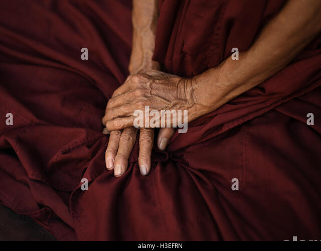A Buddhist monk prays in Yangon, Myanmar (Burma) - Stock Image