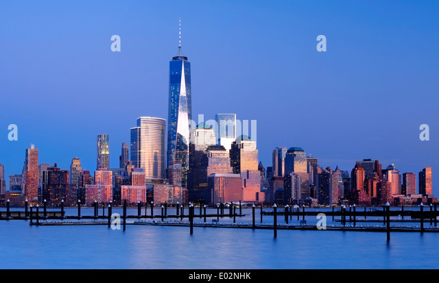 New York Skyline Viewed over the Hudson River, New York, USA - Stock-Bilder