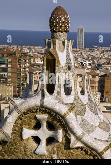 Barcelona, Gaudi-Architektur, Detail, Spanien - Stock-Bilder