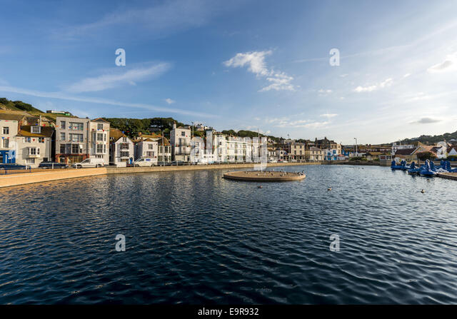 The Boating Lake in Hastings is a popular tourist attraction on the sea front. - Stock Image