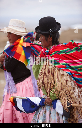 women at a political rally, La Paz, Bolivia - Stock Image