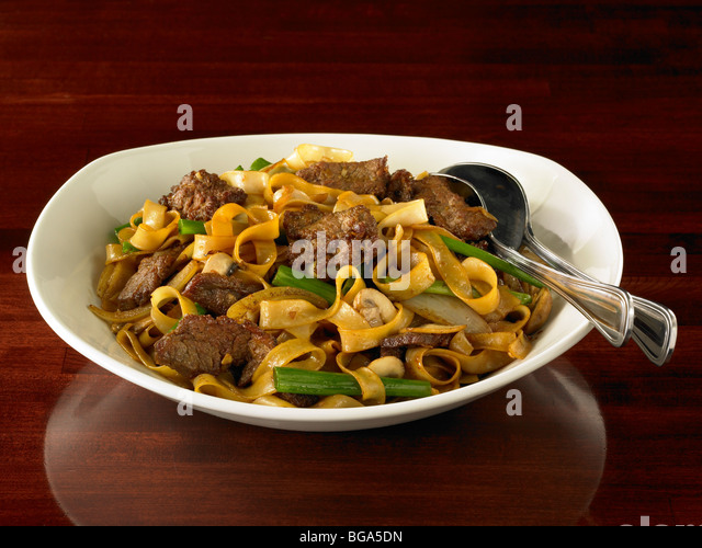 Chinese beef chow fun noodles - Stock Image