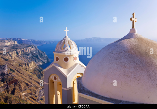 Greek Orthodox Church in Fira, Santorini (Thira), Cyclades Islands, Aegean Sea, Greek Islands, Greece, Europe - Stock Image