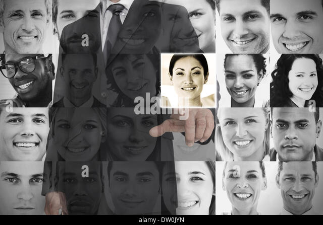 Stylish businessman choosing profile picture - Stock Image