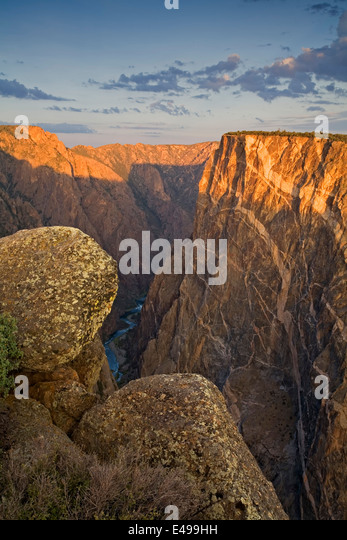 Rocks, Painted Wall and Gunnison River from Painted Wall View (S. Rim), Black Canyon of the Gunnison National Park, - Stock Image