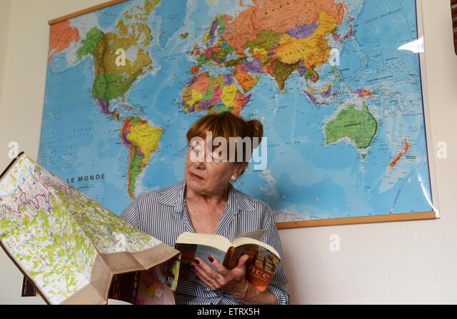 Woman Booking planning world travel holiday online via internet - Stock-Bilder
