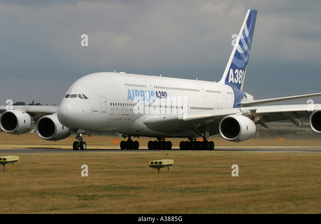 Airbus A380 at Farnborough International Airshow 2006 UK - Stock Image