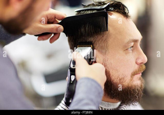 Client of barbershop - Stock Image