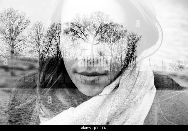 Double exposure photo of woman and nature concept - Stock Image