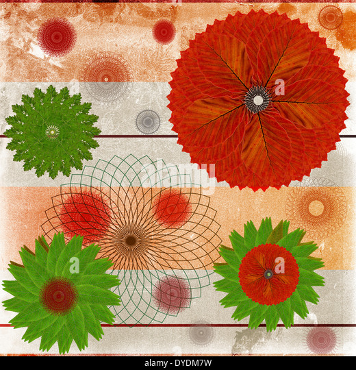 Decorative card or abstract background with floral leaf patterns - Stock Image