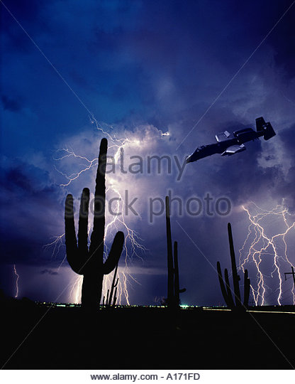 A 10 Thunderbolt in attack angle and Saguaro Cacti with Lightning Arizona - Stock Image