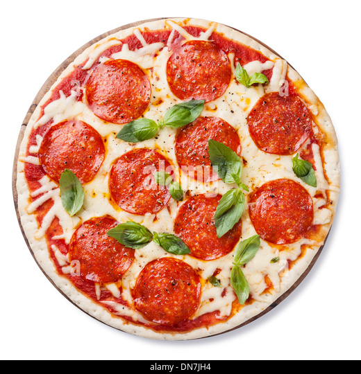 Pepperoni Pizza with basil leaves isolated on white background - Stock Image