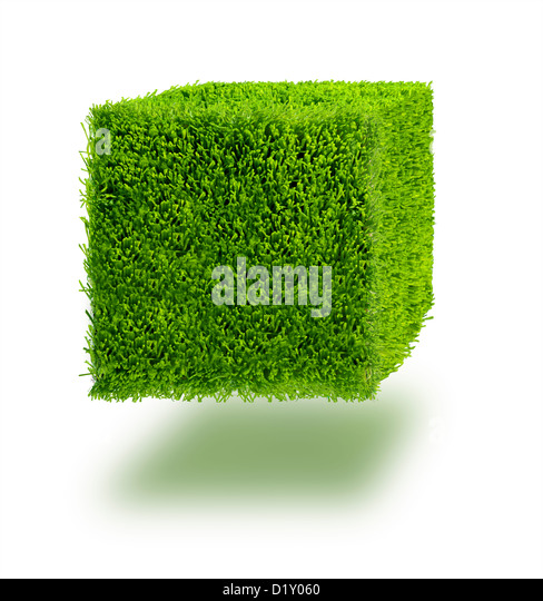 Cube of grass against a white background - Stock Image