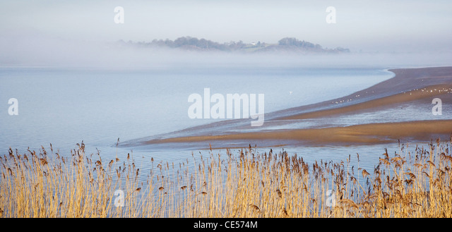 Severn Estuary between Sharpness and Purton in Gloucestershire with fog lifting from the river - Stock Image