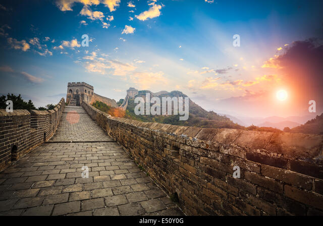 the great wall with sunset glow - Stock Image