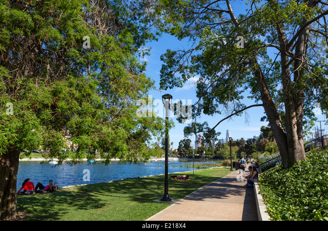 Echo Park with the downtown city skyline in the distance, Los Angeles, California, USA - Stock Image
