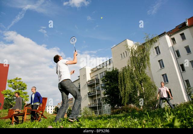 Two men playing badminton, Leipzig, Saxony, Germany - Stock Image