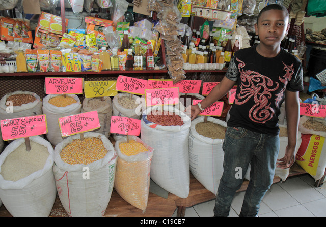 Panama City Panama Ancon Mercado Público public market stall merchant business retail selling shopping grains - Stock Image