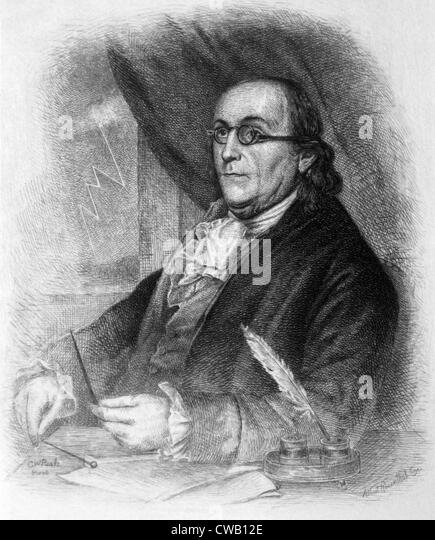 Benjamin Franklin (1706-1790), engraving 1889 - Stock Image