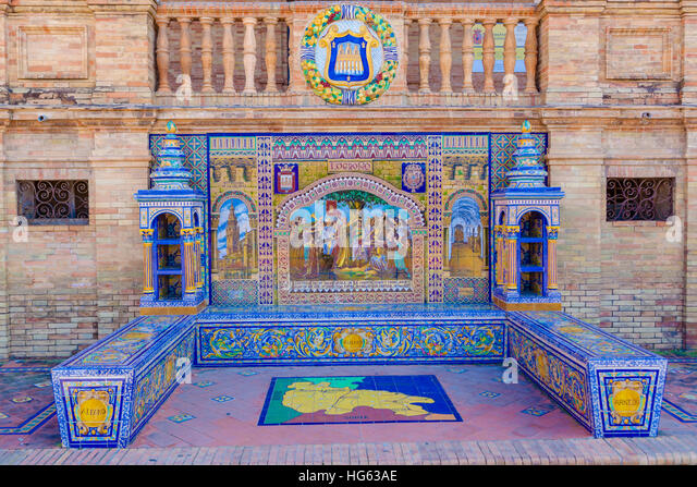 Glazed tiles bench of spanish province of Logrono at Plaza de Espana, Seville, Spain - Stock Image