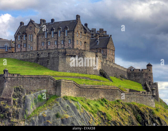 Edinburgh Castle with Dramatic sky, Old Town, Scotland - Unesco world heritage site, UK - Stock Image