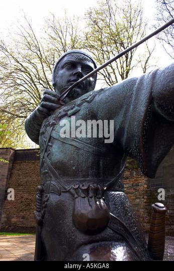 Statue of Robin Hood Nottingham England - Stock Image
