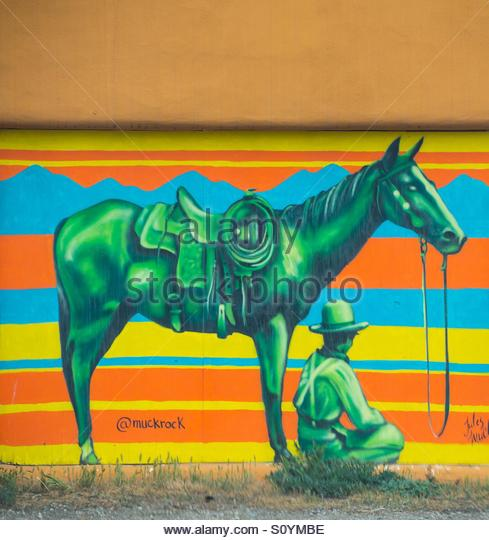 Mural in Taos, NM - Stock Image