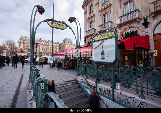 Paris metro station stock photos paris metro station - Metro saint michel paris ...