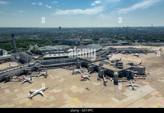 Aerial view, handling fingers of Terminal Airport, Dusseldorf, Rhineland, North Rhine Westphalia, Germany, Europe, - Stock Image