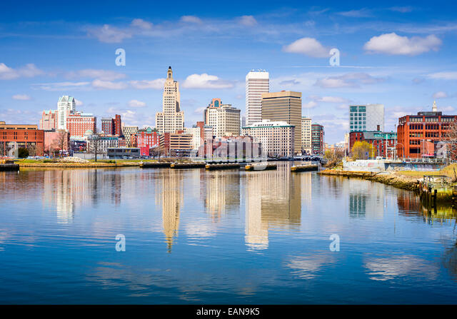 Providence, Rhode Island city skyline on the river. - Stock Image