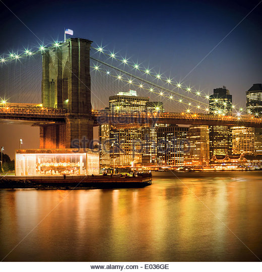 Night-Skylines NEW YORK CITY - Stock-Bilder