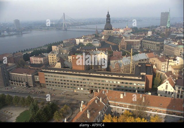 Latvia Riga Daugava River aerial city skyline historic buildings - Stock Image