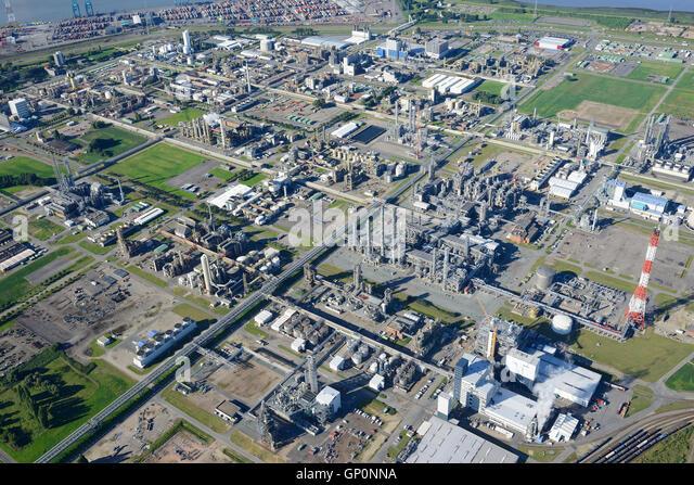 CHEMICAL PRODUCTION SITE OF BASF ANTWERPEN (aerial view). Antwerp Harbor, Belgium. - Stock Image