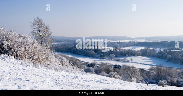 Winter at Newlands Corner near Guildford, Surrey, UK. - Stock-Bilder