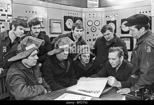 Political briefing in plant, 1975 - Stock Image