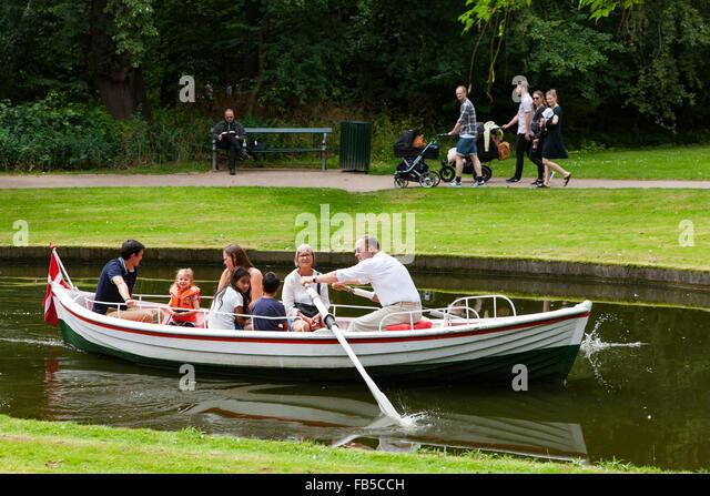 Cruise in a rowboat in Frederiksberg Garden, Copenhagen, Denmark - Stock Image