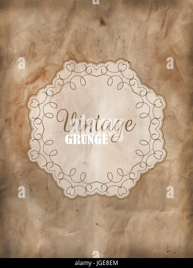 Decorative frame on a detailed grunge background - Stock Image