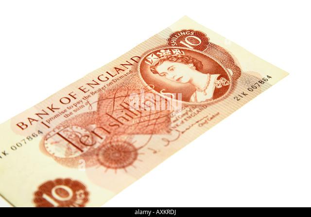 A ten shilling note, pre decimale stirling, on white background - Stock-Bilder